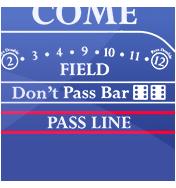 Pass line & Don't pass - online craps