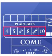 Place bets - online craps